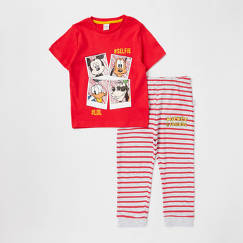 Mickey Mouse & Friends Print T-shirt and Striped Jog Pants Set
