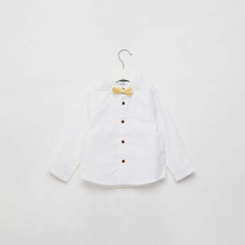 Solid Long Sleeves Shirt with 2 Bow Ties