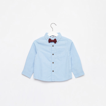 Solid Long Sleeves Shirt with Pocket and Bow Tie