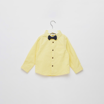 Textured Long Sleeves Shirt with 2 Bow Ties