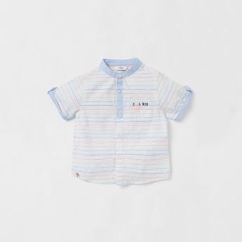 Striped Shirt with Mandarin Collar and Short Sleeves