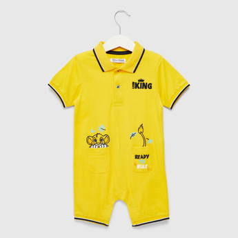 The Lion King Embroidered Romper with Short Sleeves and Pockets