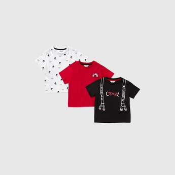 Set of 3 - Graphic Print T-shirt with Round Neck and Short Sleeves