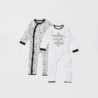 Set of 2 - Graphic Print Organic Sleepsuit with Long Sleeves