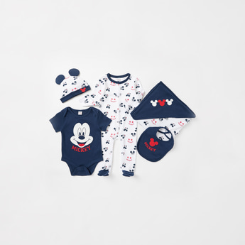 Mickey Mouse Print 5-Piece Organic Cotton Gift Set