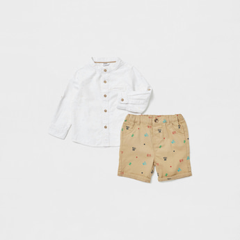 Printed Long Sleeves Shirt with and Woven Shorts Set
