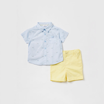 Printed Short Sleeves Shirt and Shorts Set