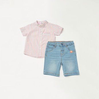 Striped Short Sleeves Shirt with Textured Denim Shorts Set