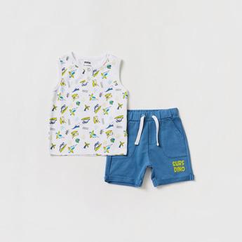 Printed Henley Neck Vest and Knee-Length Shorts Set