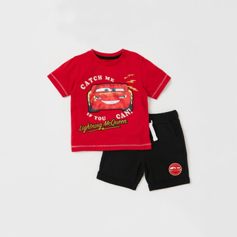 Lightning McQueen Graphic Print T-shirt with Shorts