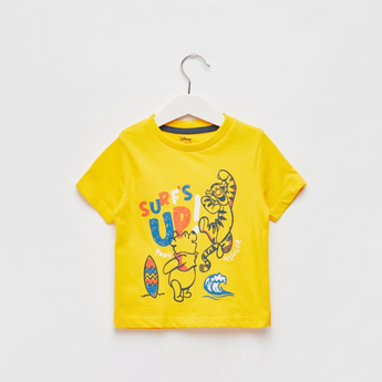 Winnie The Pooh Print T-shirt with Round Neck and Short Sleeves