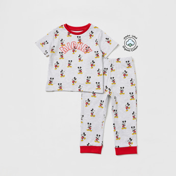 Mickey Mouse Print Round Neck T-shirt and Pyjama Set