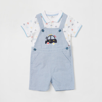 Graphic Print T-shirt with Embroidered Dungarees