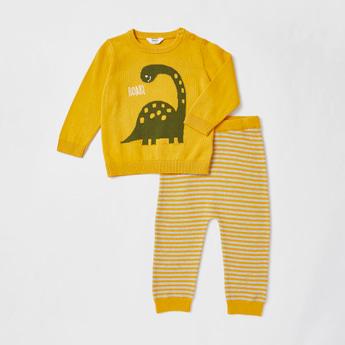 Textured Dinosaur Sweater and Jog Pants Set