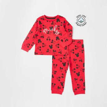 All-Over Mickey Mouse Print T-shirt and Jogger Set