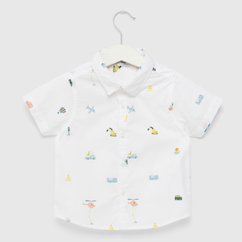Transport Vehicle Print Shirt with Short Sleeves and Button Closure