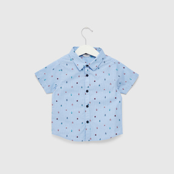 All-Over Print Shirt with Short Sleeves and Complete Placket