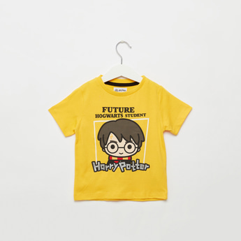 Harry Potter Print Round Neck T-shirt with Short Sleeves