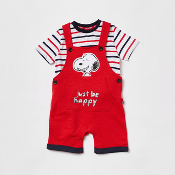 Striped Round Neck T-shirt and Snoopy Print Dungaree Set