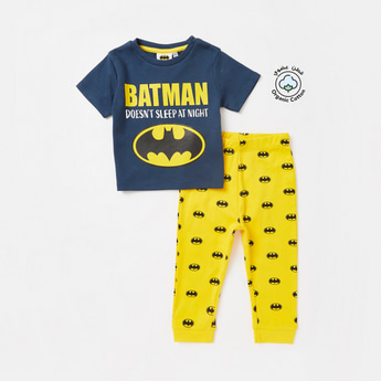 Batman Print Round Neck T-shirt and Full Length Pyjama Set