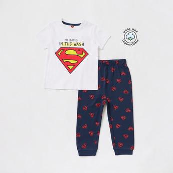 Superman Print Short Sleeves T-shirt and Full-Length Pyjama Set