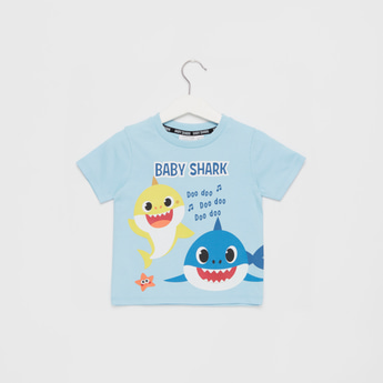 Baby Shark Print T-shirt with Round Neck and Short Sleeves