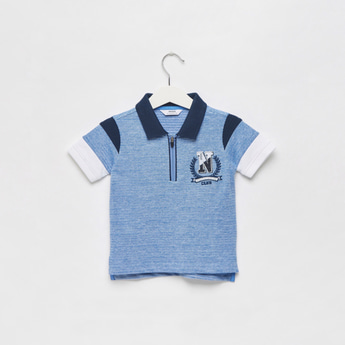 Embroidered Polo T-shirt with Zip Closure and Panel Detail