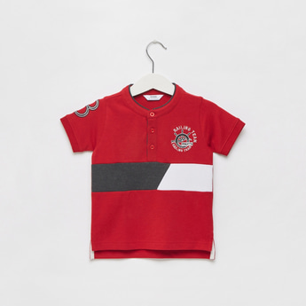 Panelled Polo T-shirt with Short Sleeves