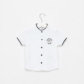 Embroidered Mandarin Collar Shirt with Short Sleeves