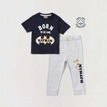 Batman Print Short Sleeves T-shirt and Full-Length Pyjama Set