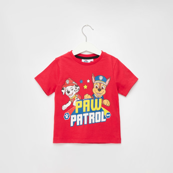 PAW Patrol Print T-shirt with Round Neck and Short Sleeves