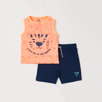 Graphic Print Sleeveless T-shirt with Embroidered Detail Shorts Set