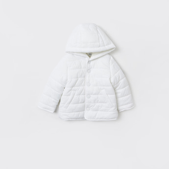 Quilted Jacket with Hood and Button Closure