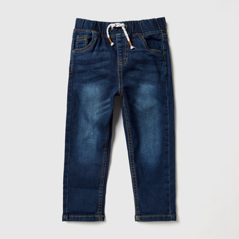 Solid Denim Jeans with Pocket Detail and Drawstring