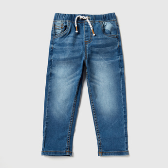 Full Length Solid Denim Jeans with Drawstring and Pocket Detail