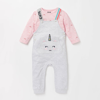 Printed Round Neck T-shirt and Full Length Dungaree Set