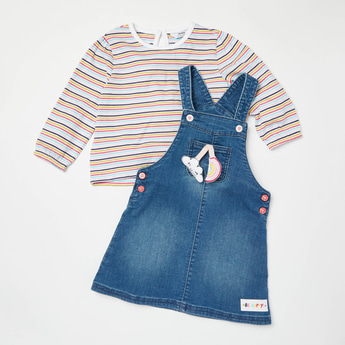 Striped Long Sleeves T-shirt with Applique Detail Pinafore Set