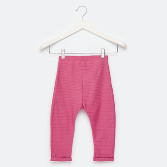 Full Length Textured Pants with Pockets and Elasticated Waist