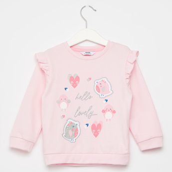 Printed Round Neck Sweatshirt with Long Sleeves and Ruffles