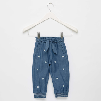 Flower Embroidered Denim Harem Pants with Drawstring Closure