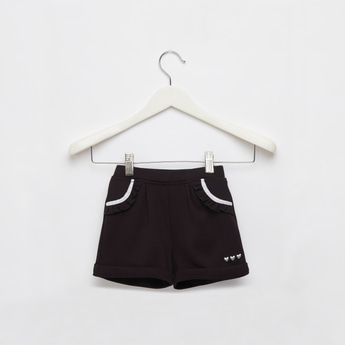 Heart Embroidered Detail Shorts with Pockets and Elasticised Waistband