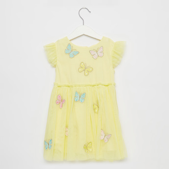 Butterfly Embroidered Mesh Dress with Button Closure and Cap Sleeves