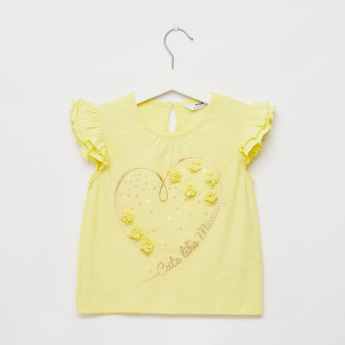 Flower Applique Detail T-shirt with Round Neck and Ruffle Sleeves