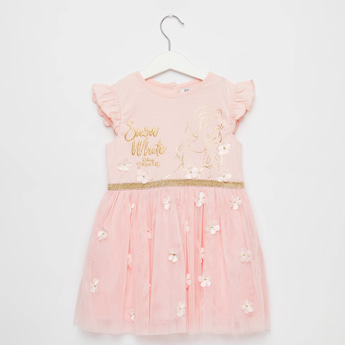 Snow White Embellished Dress with Mesh and Flower Applique Detail