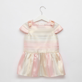 Striped Jacquard Dress with Cap Sleeves and Bow Applique Detail