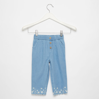 Embroidered Detail Pants with Pocket Detail and Scalloped Hem