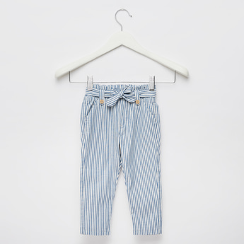 Striped Trousers with Belt and Elasticised Waistband