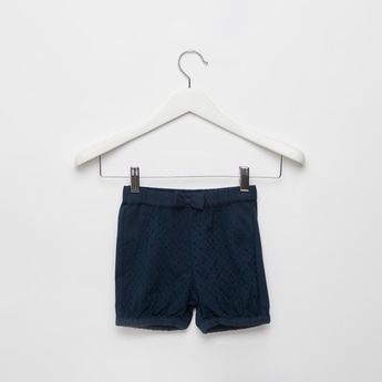 Textured Shorts with Bow Applique Detail and Elasticised Waistband
