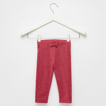 Textured Leggings with Bow Applique Detail and Elasticised Waistband