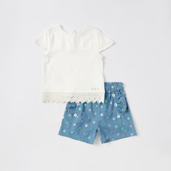 Solid T-shirt with Lace Detail and Printed Shorts Set